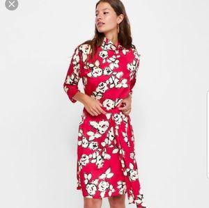 New zara Red Floral Print dress